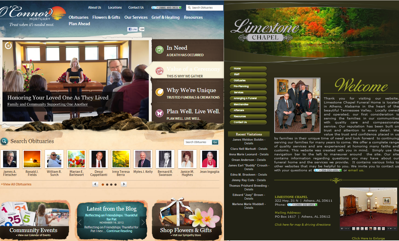 Funeralone blog blog archive funeral home website design Home design sites