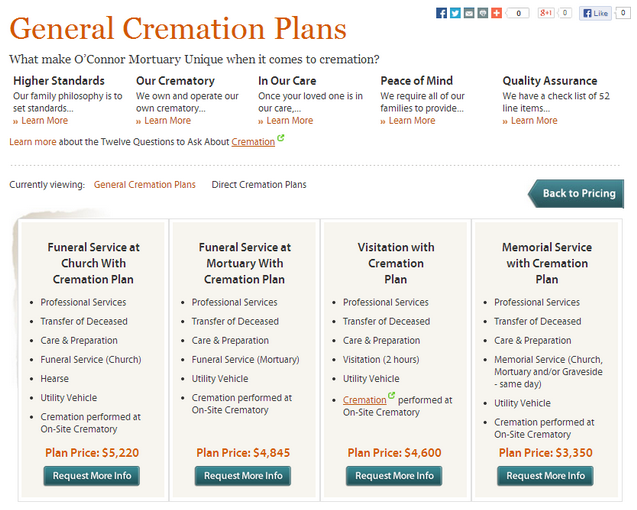 O'Connor Mortuary's pricing page is great because it provides plenty of options and information for each package.